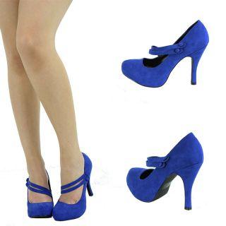 Cobalt Blue Suede Mary Jane Button High Heel Platform Stiletto Sandal