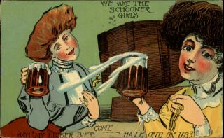 Schooner Girls Drunk Beer Steins Alcohol Comic c1910 Postcard