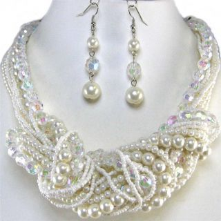 Chunky Multi Strand Cream Pearl AB Crystal Earrings Necklace Set