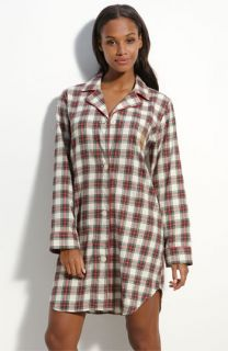 Lauren by Ralph Lauren Notched Collar Plaid Flannel Sleep Shirt