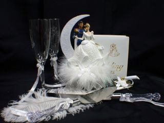 Disney Cinderella Prince Charming Wedding Cake Topper Lot Glasses