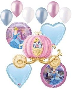 Disney Princess Cinderella Carriage Foil Balloon Bouquet Decoration