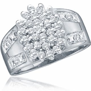 Diamond Cluster Fashion Engagement Ring Cocktail Ladies 10K White Gold