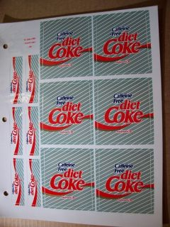 Caffeine Free Diet Coke Soda Machine Fountain Labels 6 Large 6 Small