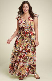 Lily Flutter Sleeve Maxi Dress (Plus)