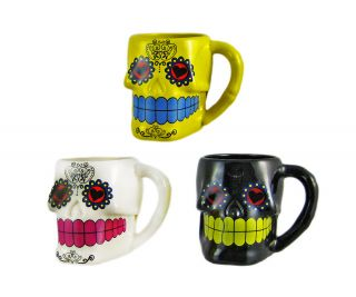 Set of 3 Day of The Dead Sugar Skull 3D Figural Coffee Mugs