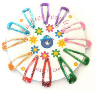Girls Hair Clips Clip Tie Pin 12 Packet 6 Colours Pink Blue Glitter