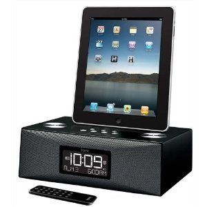 iD85BZC Dual Alarm Clock Radio iPod iPhone iPad Dock Black App Remote
