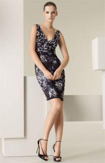 Versace Leopard & Orchid Print Jersey Dress