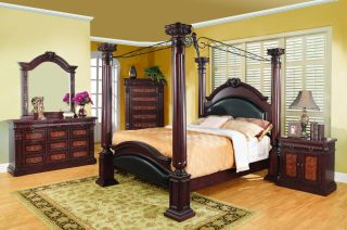 Queen Grand 4 Poster Bedroom Collection Formal Cherry 5 Piece Set