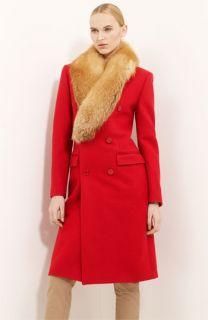 Michael Kors Detachable Fox Fur Collar Coat