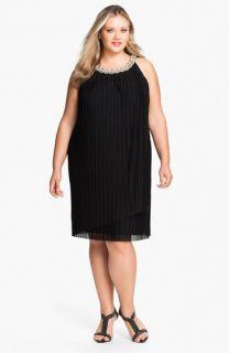 Donna Ricco Embellished Pleat Mesh Shift Dress (Plus)