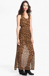 Dee Elle Keyhole Back Print Chiffon Maxi Dress (Juniors)