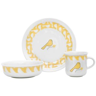 Cocalo Porcelain Yellow Bird Dish Set Plate Cup Bowl
