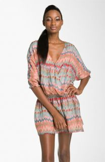Haute Hippie Print Silk Faux Wrap Dress