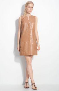 Vince Sleeveless Leather Shift Dress