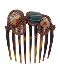 Colette Malouf Rock Crystal And Mesh Embellished Hair Comb At