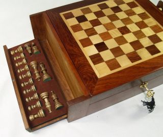 Vintage RARE Chess Cigar Tobacco Box Wood Wooden Hygrometer Humifier