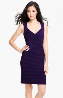 Calvin Klein Ribbed Panel Jersey Sheath Dress