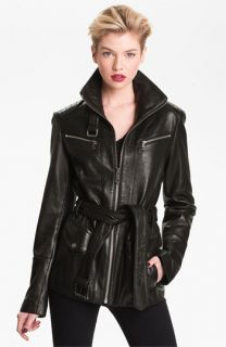 Andrew Marc Belted Leather Jacket