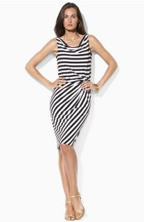 Lauren Ralph Lauren Stripe Jersey Drape Neck Sheath Dress