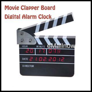 Movie Slate Clapper Board Digital Calendar LCD Display Alarm Clock