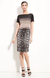 St. John Collection Bateau Neck Leopard Print Dress