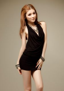 Black V Halter neck Sequin Backless Sleeveless Clubbing Mini Dress