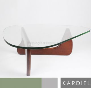 Noguchi Coffee Table 3 4 Glass Top Solid Ash Wood Base Cherry Modern