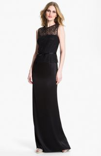 St. John Collection Liquid Satin & Lace Gown