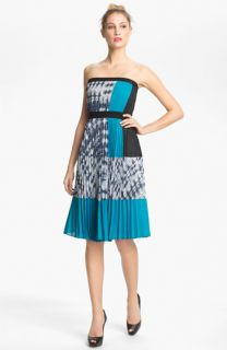 BCBGMAXAZRIA Strapless Pleated Crepe Dress