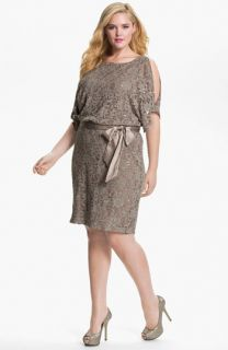Eliza J Sequin Lace Cold Shoulder Blouson Dress (Plus)