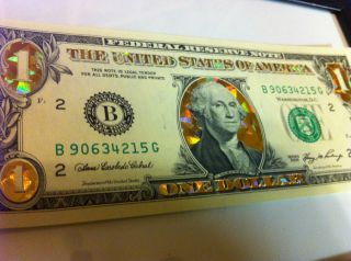 ONE$ 22 K GOLD $1 DOLLAR BILL.*HOLOGRAM COLORIZED   *CRISP NOTE GIFT