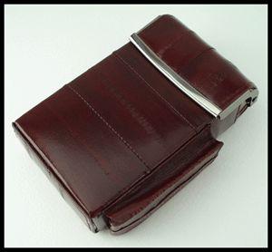 Wine Color Eel Skin Leather Box Pop Up Cigarette Case