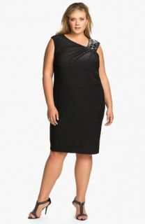 Adrianna Papell Beaded Shoulder Jersey Shift Dress (Plus)