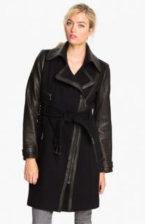 Andrew Marc Taylor Leather Sleeve Belted Coat