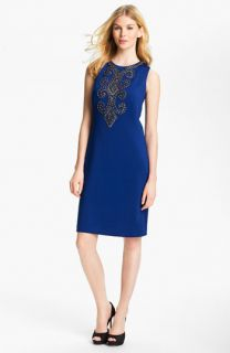 Ellen Tracy Sleeveless Embellished Front Sheath Dress
