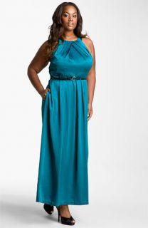 Donna Ricco Satin Halter Dress (Plus)