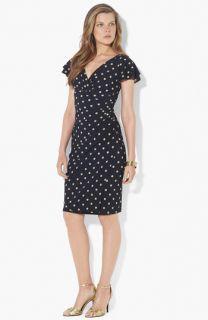 Lauren Ralph Lauren Polka Dot Flutter Sleeve Jersey Dress