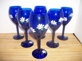 COBAL BLUE HAND PAINED DAISY CHAMPAGNE WINE GLASS SEM BAR WARE
