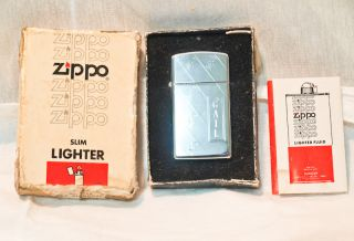 VINTAGE ZIPPO SLIM LIGHTER ENGRAVED GAIL WITH ORIGINAL BOX SILVER TONE