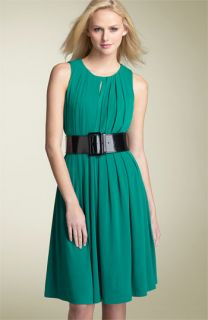 Calvin Klein Keyhole Pleated Jersey Dress