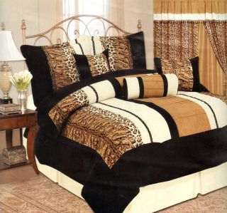 Pcs Leopard Skin Micro Suede Comforter Set Bed in A Bag Queen Size