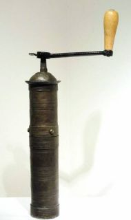 RARE Antique Brass Coffee Spice Grinder Hand Mill Crank