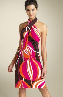 Maggy London Twist Neck Print Dress