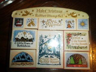Personal Stamp Exchange Holy Christmas Collectible Rubber Stamp Set of