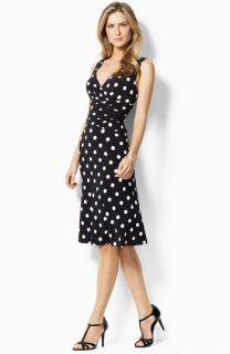 Lauren by Ralph Lauren Polka Dot Jersey Dress