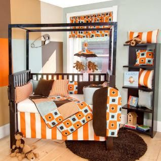 4pc Bright Orange Geometric Modern Patchwork Square Neutral Baby Crib