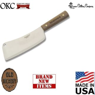 Meat Cleaver knife wood handle Made in USA Old Hickory Queen steel