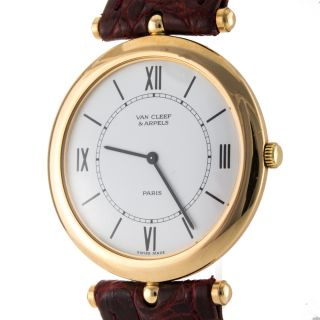 Van Cleef Arpels 28040 18K Pink Gold Swiss Made Quartz Mens Watch